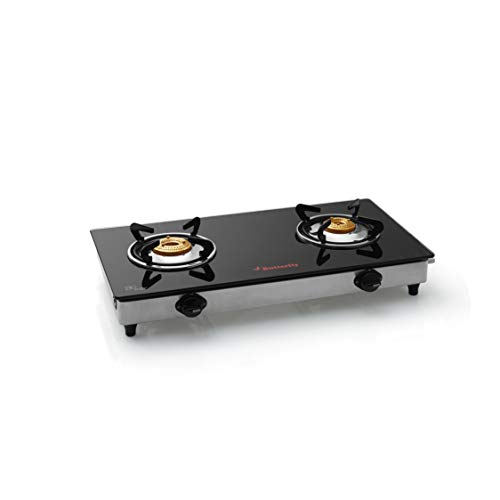 Butterfly Jet Stainless Steel 2 Burner Gas Stove, Black/Silver