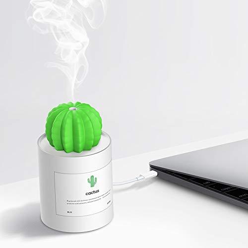 Gaocunh Cactus Humidificador con luz Nocturna, Mini Cool Mist humidificador 280 ml USB portátil Distribuidor...