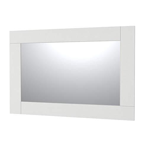 VE.CA-ITALY SPECCHI CON CORNICE IN LEGNO PER ARREDO BAGNO E CASA - 9 COLORAZIONI - DESIGN MINIMALE (Bianco frassinato, 150x100 cm - specchio 120x70 cm)
