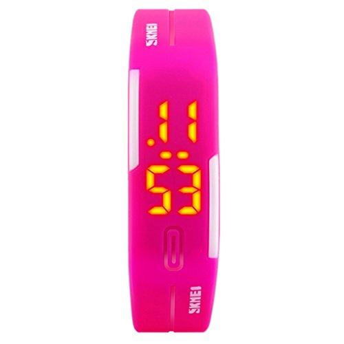 SKMEI - Reloj Digital Deportivo Resistente al Agua con LED Banda de PU para  Chicas Estudiantes d6d4efea356a