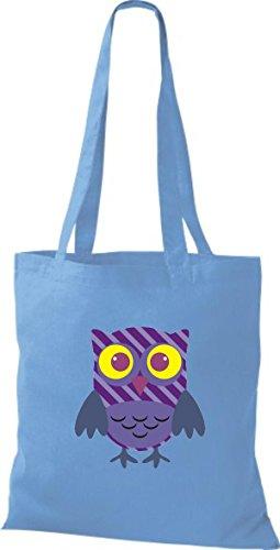 ShirtInStyle Jute Stoffbeutel Bunte Eule niedliche Tragetasche mit Punkte Karos streifen Owl Retro diverse Farbe, hellblau