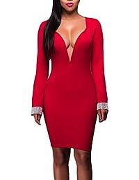 EOZY Robe Femme Moulant Décolleté Soirée Manche Longue Cérémonie Été Rouge Size3