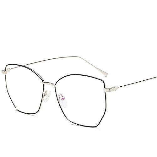 Unisex Blaue Brille Joker Frame Brille Box Butterfly Men und Women Type Brille verhindern Blue Light Lue Shading Brille für Studenten / Büroangestellte ( Farbe : Black and silver , Größe : Free size )