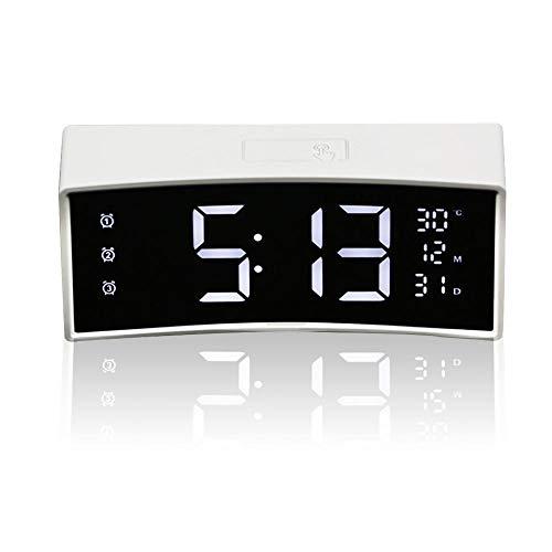 Teepao Nachttisch-Uhr, 15,2 cm, gebogener digitaler Wecker mit USB-Ladegerät, LED-Uhr mit Datum/Temperatur/Schlummer/Dimmer/verstellbare Lautstärke/Backup-Batterie für Schlafzimmer Schreibtisch, weiß (Schreibtisch-uhr Datum Mit)