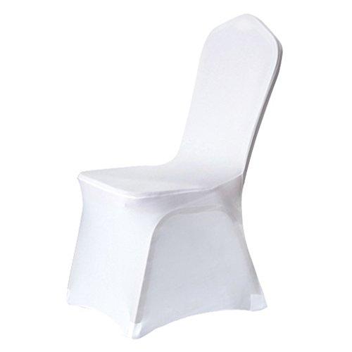 Nibesse Housse de Chaise Élastique Enveloppé Complet Housse Lavable Amovible pour banquets Mariages Réceptions Fêtes (blanc)
