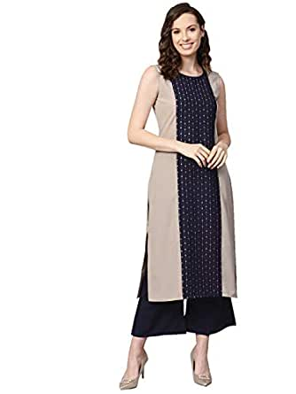 Ziyaa Women's Beige Color Foil Print Straight Crepe Kurta With Palazzo Set