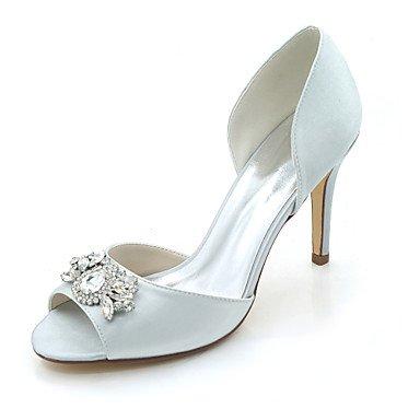 Wuyulunbi@ Scarpe donna raso Primavera Estate della pompa base scarpe matrimonio Stiletto Heel Peep toe strass per la festa di nozze & sera un Champagne Argento