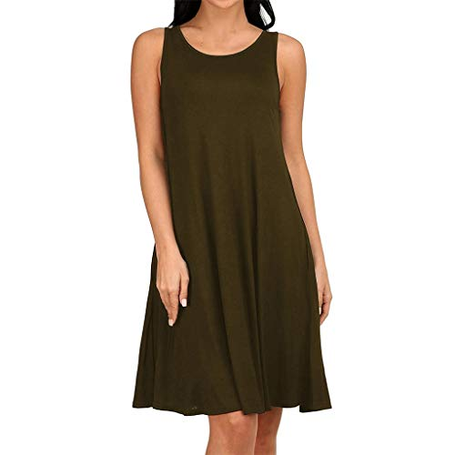 Epig Lässige Trägerkleid für Frauen Einfache Plain V-Ausschnitt Plissee Lose Kleid Sommer Oansatz Ärmellose Weste Kleid