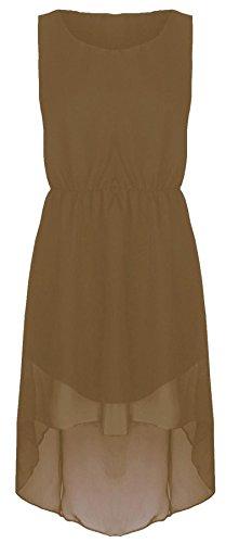 Chocolate Pickle ® Nouveau Femmes Plus Size en mousseline de soie robe de soirée inégale 44-54 Moka