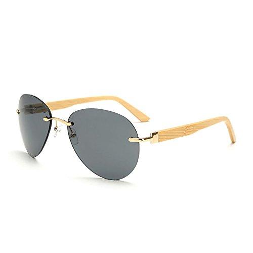 SUNGLASSES Neue Aviator Metall Sonnenbrille Hochwertige Spring Hing Bamboo Glasses Outdoor Wild Brille (Farbe : Gray)