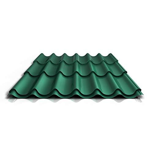 Pfannenblech | Ziegelblech | Dachziegelblech | Profil PS47/1060RT | Material Stahl | Stärke 0,50 mm | Beschichtung 80 µm | Farbe Chromoxidgrün