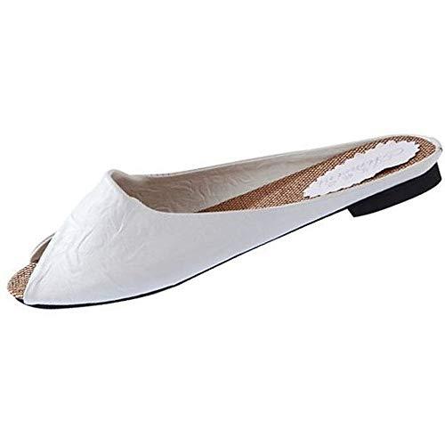 JURTEE Sandalen Damen Sommer, Frauen Sandalen Schuhe Peep-Toe Niedrige Schuhe Römersandalen Damen Flip Flops Hausschuhe(36 EU,Weiß)