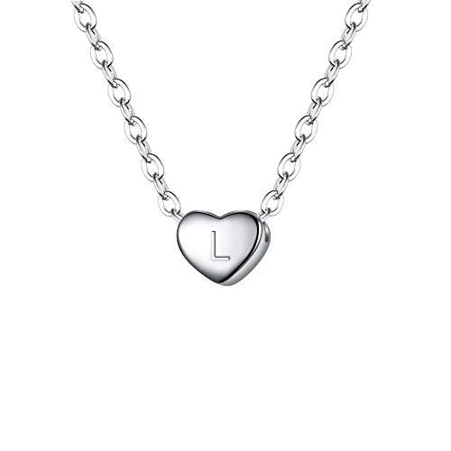 Clearine Damen Choker Halskette 925 Sterling Silber mit Buchstabe A-Z kleine Initial Herz Anhänger Kette Halsband Buchstabe L Klar Silber-Ton
