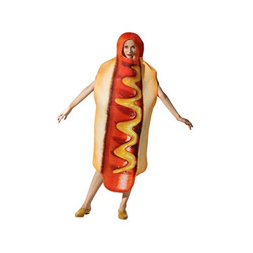 Muster Dog Erwachsene Für Kostüm - CLHCilihu Hot Dog Overalls, Lebensmittel Kleidung Polyester lose atmungsaktiv realistische Parodie Halloween Rollenspiel Maskerade Erwachsene Männer und Frauen Bekleidungszubehör