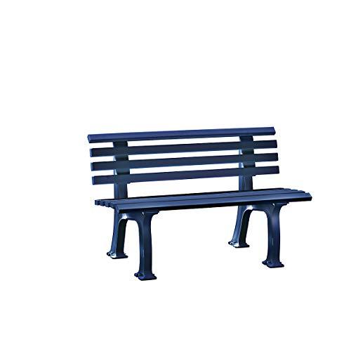 Parkbank aus Kunststoff – mit 9 Leisten – Breite 1200 mm, stahlblau – Sitzbank Gartenbank Ruhebank Bank für Außenbereich UV- und witterungsbeständig PVC Bank