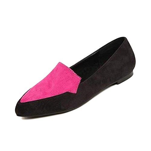 OCHENTA Femme Ballerines Tete Pointu Plate Suedine Couleur Jointif Chaussure Poiture Grande RoseRouge