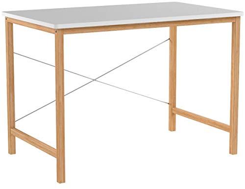 Schreibtisch Computertisch Bürotisch Weiß für Zuhause Büro - Holz PC Tisch Arbeitstisch Esstisch Groß 100x60x72cm, Bambus