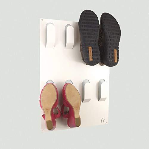 The Metal H Designer Lot de 2 Supports muraux pour Chaussures Blanc