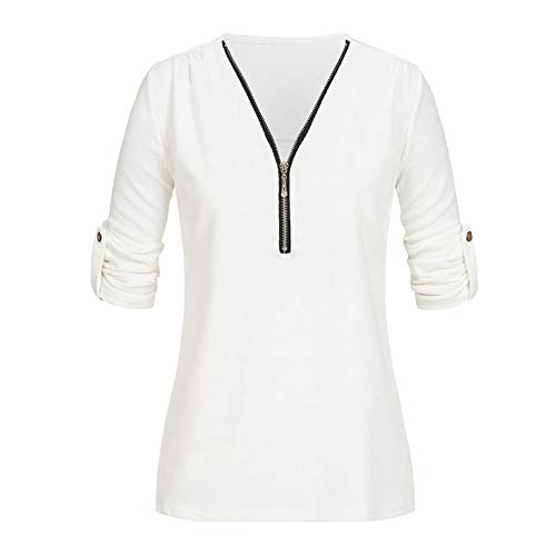 BHYDRY Frauen Langarm Knopf Bluse Pullover Tops Mit ()