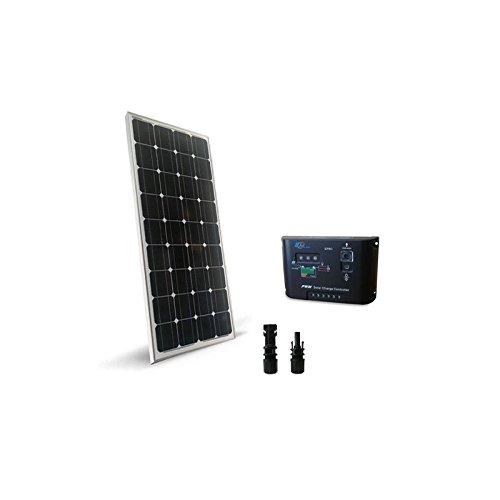 PuntoEnergia Italia - Kit Solare Base 100W 12V Pannello Monocristallino Fotovoltaico Regolatore 10A - KSB-100M-12