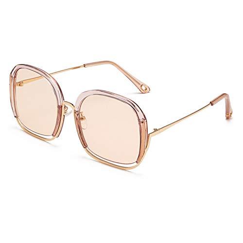 FIRM-CASE Klassisches quadratisches Metall Sonnenbrillen Männer Frauen Retro Siamese hohler großer Rahmen der Sun-Glas-Mode-Rahmen Eyewear, 3