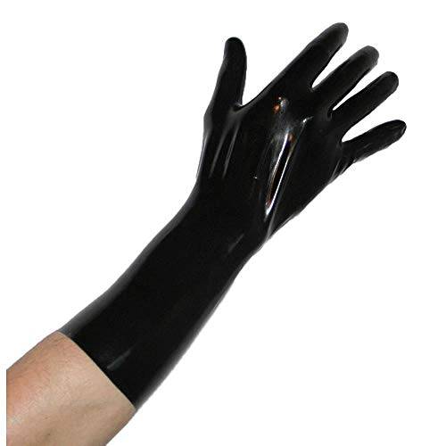 Rubberfashion kurze Latex Handschuhe, Latexhandschuhe bis übers Handgelenk nicht chloriert für Frauen und Herren Menge: 1 Paar,Schwarz,M / 0.8 mm/Handschuhgröße: 8 (Halloween Latex Bis)