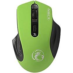 Vimoli Souris Gamer sans Fil 2.4G de Jeux Filaire avec 4 Boutons Optique Gaming Mouse Facile à Utiliser pour pour PC Ordinateur Portable/Bureau Gamer Mac Ordinateur Portable (Vert)