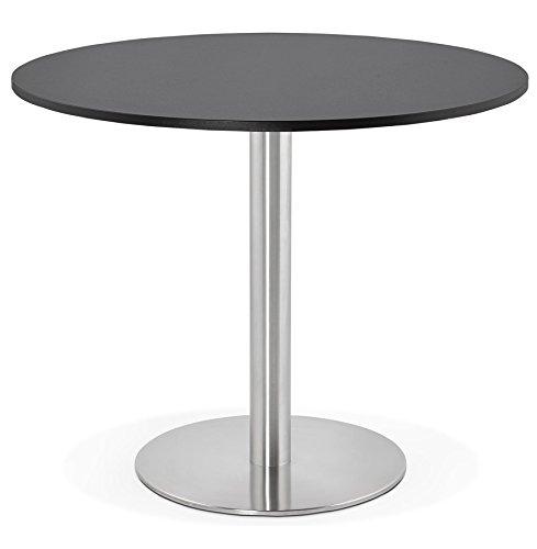 Alterego - Petite Table de Bureau/à Diner Ronde 'Dallas' Noire - Ø 90 cm