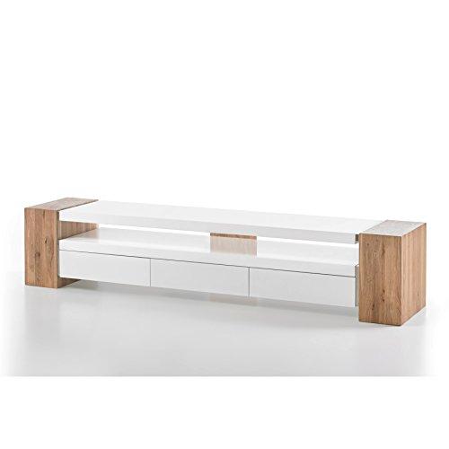 Invicta Interior Design TV-Lowboard Jule II 200cm Original MCA matt Weiss lackiert Eiche Massiv Beine -