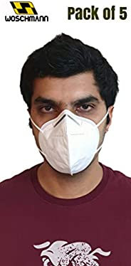 Woschmann-KN95 Pollution Mask with Metal Nose Tip & Ultra thin 3D Compressed Breathable 5 Layer Mask Good