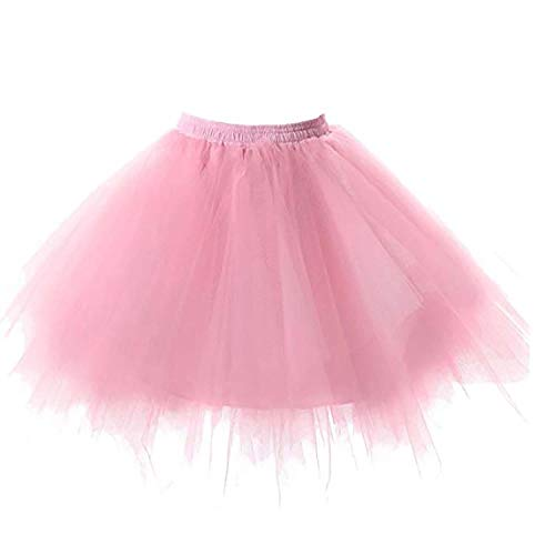 Rosa Kind Damen Satin Kostüm - SUPIPARTY Damenrock Mädchen Ballett Tüllrock Partyrock 3-Lagig Tütü Tutu Rock Vintage, 45cm, M, pink SP-11049