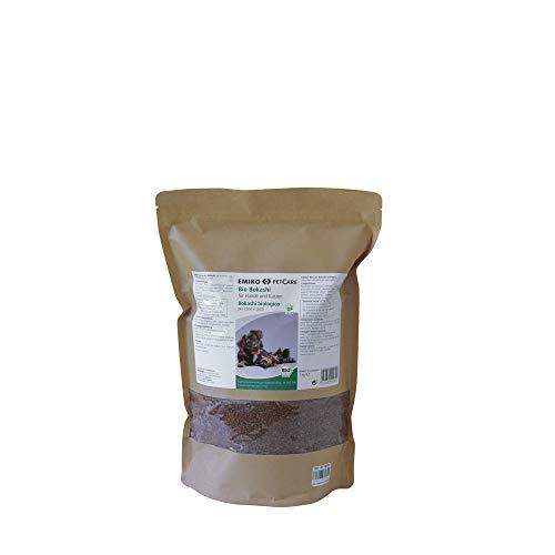 Emiko PetCare Bio Bokashi 1 kg, suplemento de alimento con ácido láctico y valiosos Productos de plástico EM, para Perros y Gatos