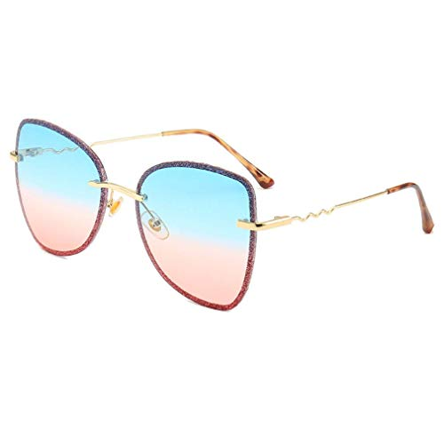 HQMGLASSES Frauen Sonnenbrillen Designer Butterfly Form - Shiny Frame Celebrity Gradient Tone Sunglasses UV400 Protection for Shopping/Leisure,BluePinkLens