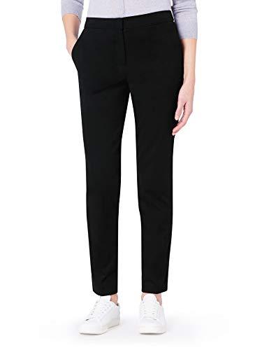 MERAKI Pantalones Rectos Mujer, Negro, 42 (Talla del Fabricante: Large)
