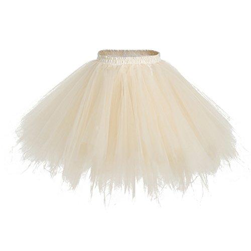bridesmay Tutu Damenrock Tüllrock 50er Kurz Ballet Tanzkleid Unterkleid Cosplay Crinoline Petticoat für Rockabilly Kleid Champagne L