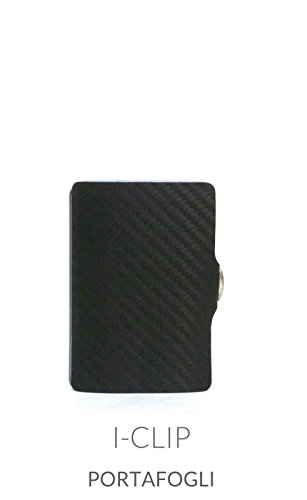 Small Black Carbon Fibre Leather i-Clip Wallet Card & Note Holder