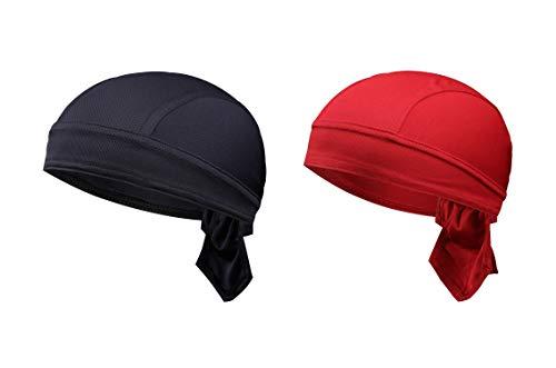 TSHOME 2-Pack Breathable Cycling Cap Fast Dry MTB Headwear Pirate Bicycle Bandana Bike Scarf Motorrad Skull Cap Under Helm Headband für Männer Frauen (Dunkelblau &...