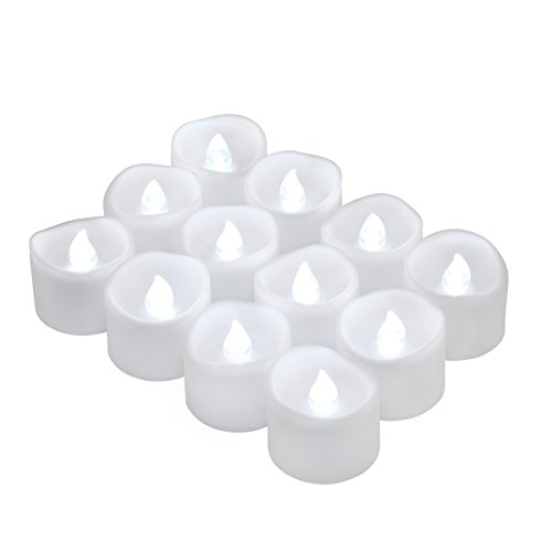 Oria Velas sin Llama LED Velas de Té, Vela Eléctrica Funcionan con Pilas, 12 Flameless LEDs Tea Lights Velas Realistas, Ideal para Boda, Cumpleaños, Festivales, Decoración – 12Pcs / Blanco Frío