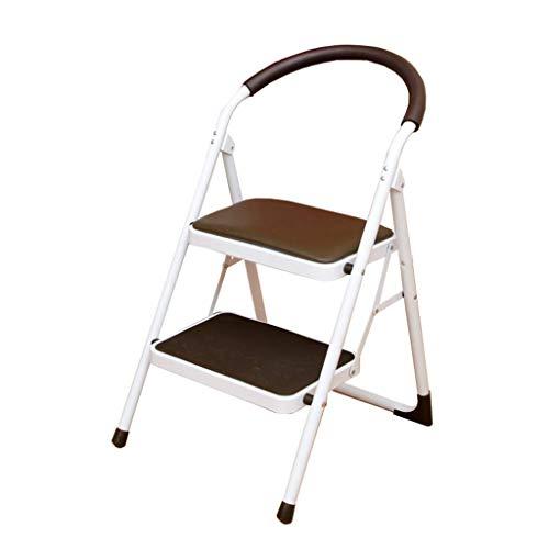 JHUEN 3 Step Ladder Stool Folding Household Step Stool Steel Safety Non Slip Lightweight Kitchen Stool,100 kg Capacity - Brown Brown Steel Toe Slip