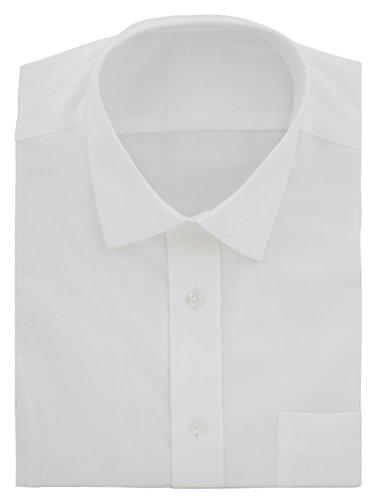 Ex Store schnelles Bügeln aus Baumwolle Köper Long Sleeve Shirt Weiß - Weiß