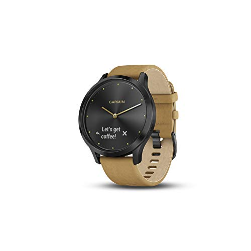 Garmin Vivomove HR Premium Fitness Tracker Smartwatch Black/Tan 010-01850-00