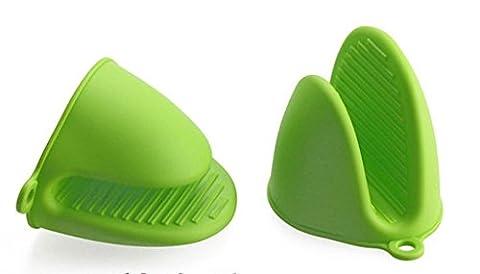Silikon Küche Ofenhandschuhe, Topflappen GETALL und Silikon, hitzebeständig, 2er Set Silikon kneifen Inhaber Topf Halter Wärme Isolierung Handschuhe (Grün)