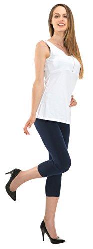 BeLady Damen Leggings 3/4 Capri aus Baumwolle Blickdichte Leggins Viele Farben (Dunkelblau, 8XL - 56)