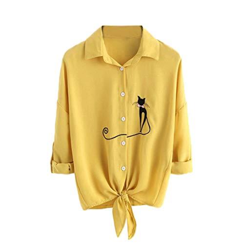 UFACE Frauen Bestickte Katze Langarm-Taste Top Bestickte Katze Verknotet Hem Shirt Langarm Bluse Button Tops(Gelb,EU/46CN/L)