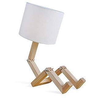 AZCX Leselampe klassisches Holzdesign, Kreative Persönlichkeit kleine roboterförmige Lampen Exquisite Mode Home-Schlafzimmer Nachttischlampe