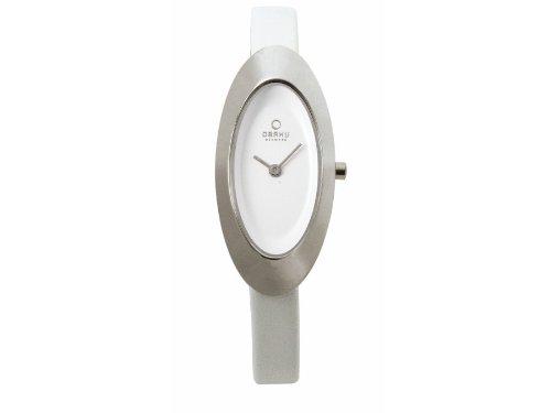 Obaku Denmark V156LCIRW - Reloj analógico para mujer de cuero blanco