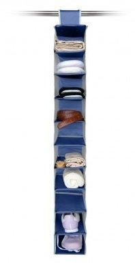Ordinett® blau Garment Kleiderbügel 10Abschnitten Kleiderschrank Kleiderstange Regalen Aufbewahrung Organizer für Schuhe Reinigungstuch (Pocket 10 Shoe)