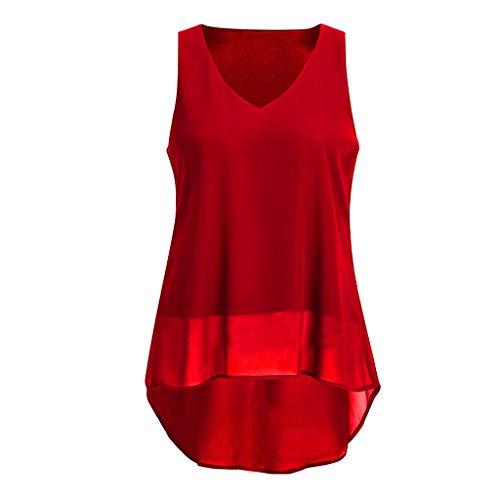 Jaminy Damen Sporttop Yoga Tank Top Oberteil Fitness Funktions Shirt Ärmelloses Shirt Sport Oberteil Tops S-XL (Rot, XL)