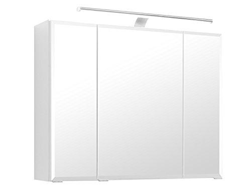 """3D-Spiegelschrank Badspiegel Badhängeschrank Spiegel \""""Delhi I\"""" (80 cm, weiß)"""