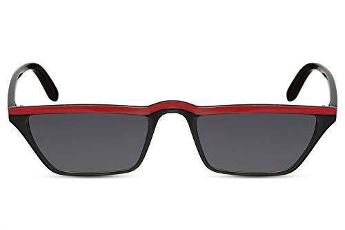 Cheapass Sonnenbrille Katzenauge-n Schwarz Rot UV-400 Schmal Breit Cat-Eye Designer-Brille Plastik Damen Frauen